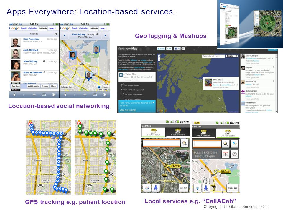 Apps Everywhere: Location-based services. Location-based social networking GPS tracking e.g.