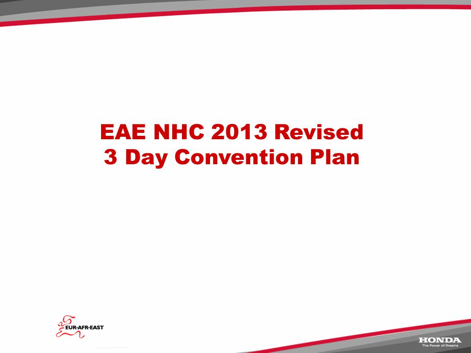 EAE NHC 2013 Revised 3 Day Convention Plan