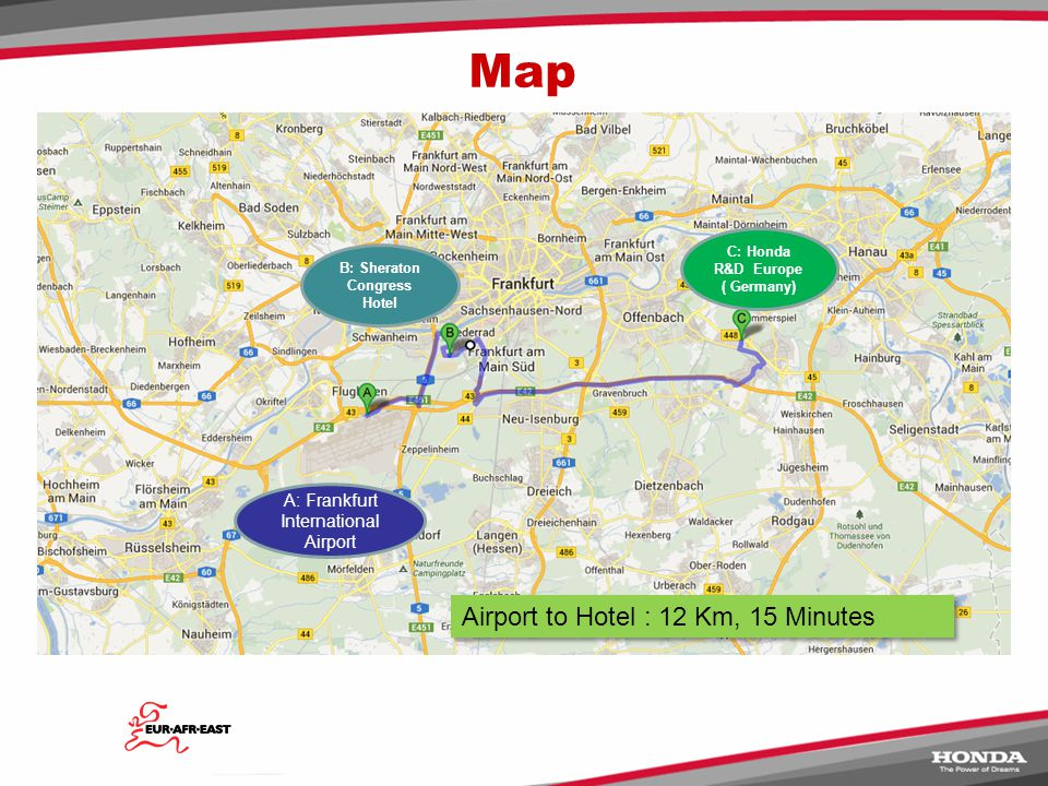 DAY1 - 27 th September  Arriving at Frankfurt International Airport or Frankfurt Train Station - Delegates should plan to arrive at either Frankfurt International Airport or Frankfurt Train Station where they will be met by members of the Eur-Afr-East NH Circle buddies who will arrange transfer to the hotel.