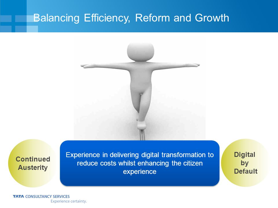 Balancing Efficiency, Reform and Growth Continued Austerity Digital by Default Experience in delivering digital transformation to reduce costs whilst
