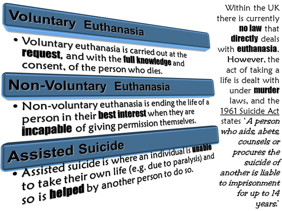 Within the UK there is currently no law that directly deals with euthanasia. However, the act of taking a life is dealt with under murder laws, and th