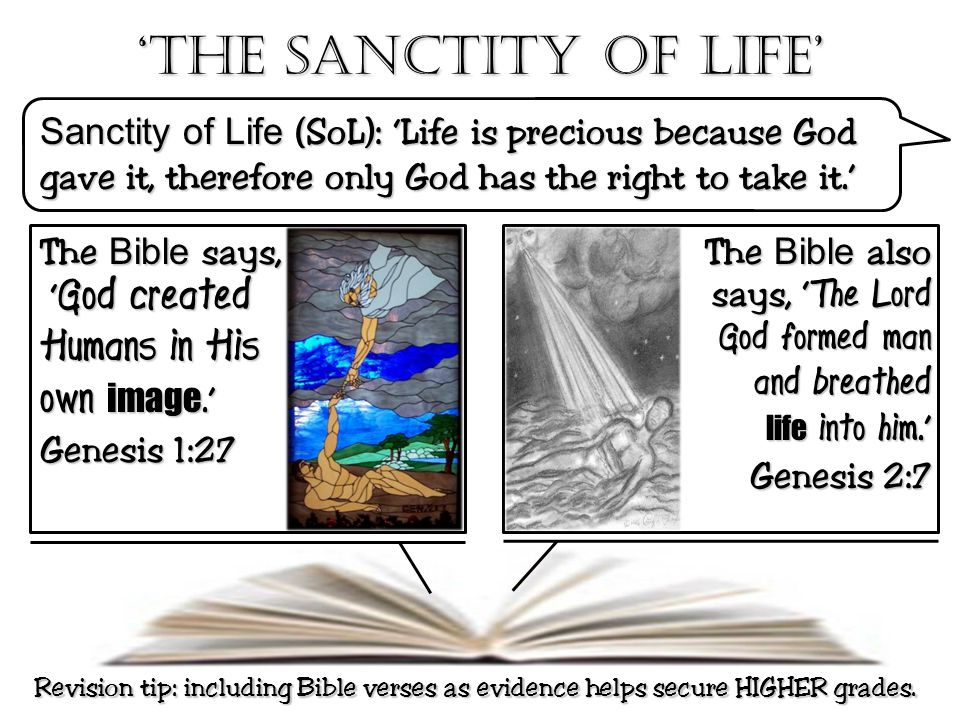'The Sanctity of life' Sanctity of Life (SoL): 'Life is precious because God gave it, therefore only God has the right to take it.' The Bible says, '