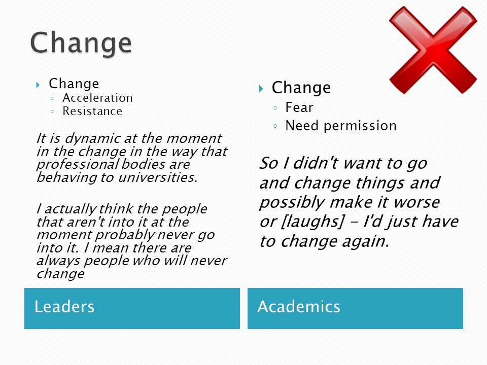 LeadersAcademics  Change ◦ Acceleration ◦ Resistance It is dynamic at the moment in the change in the way that professional bodies are behaving to universities.