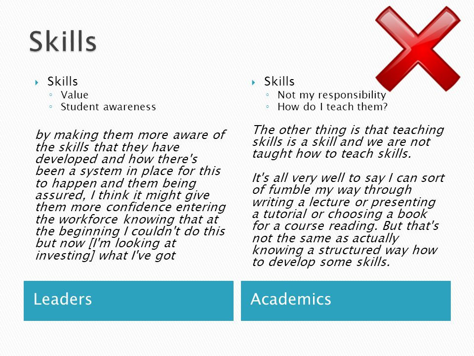 LeadersAcademics  Skills ◦ Value ◦ Student awareness by making them more aware of the skills that they have developed and how there s been a system in place for this to happen and them being assured, I think it might give them more confidence entering the workforce knowing that at the beginning I couldn t do this but now [I m looking at investing] what I ve got  Skills ◦ Not my responsibility ◦ How do I teach them.