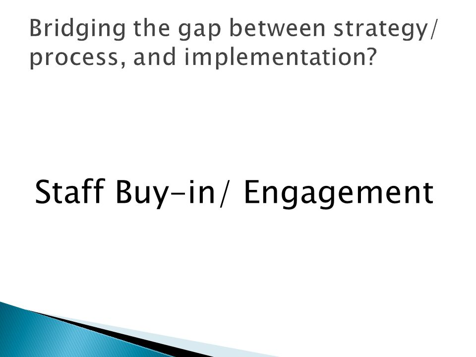 Staff Buy-in/ Engagement