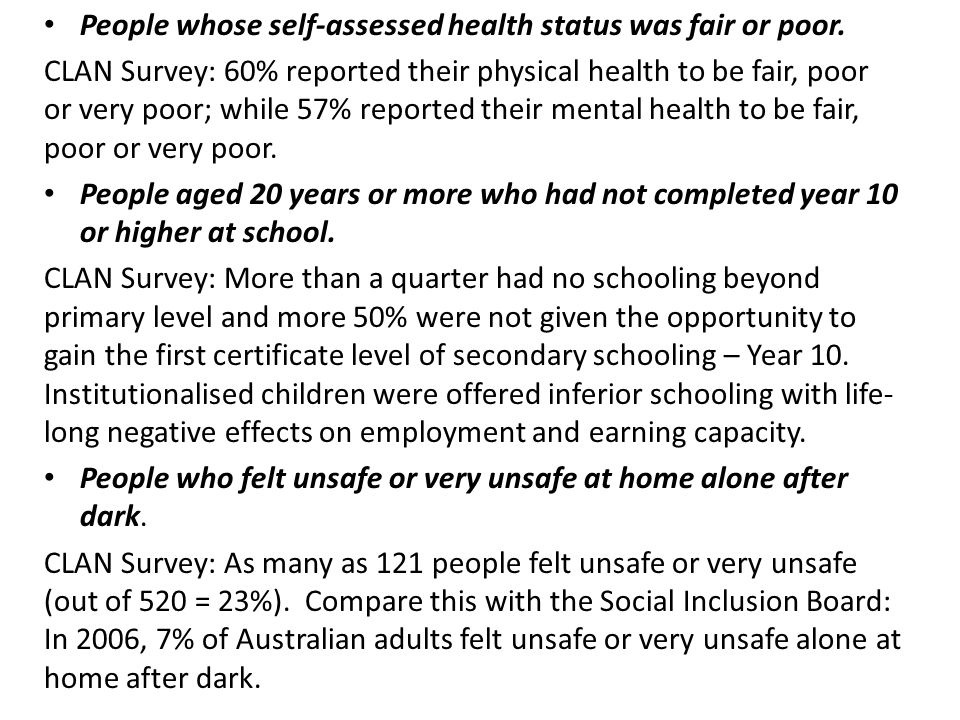 People whose self-assessed health status was fair or poor. CLAN Survey: 60% reported their physical health to be fair, poor or very poor; while 57% re