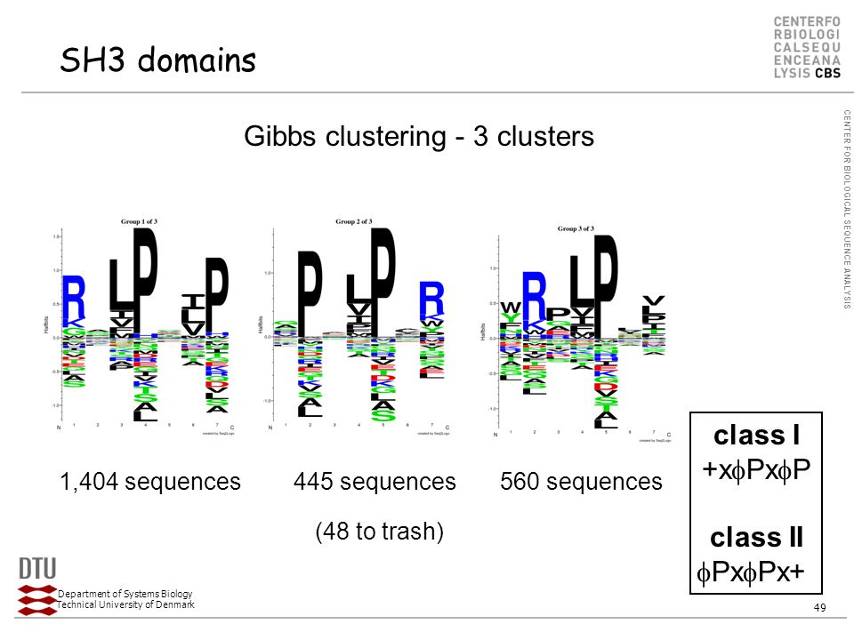 CENTER FOR BIOLOGICAL SEQUENCE ANALYSIS Department of Systems Biology Technical University of Denmark 49 SH3 domains Gibbs clustering - 3 clusters class I +x  Px  P class II  Px  Px+ 1,404 sequences560 sequences (48 to trash) 445 sequences