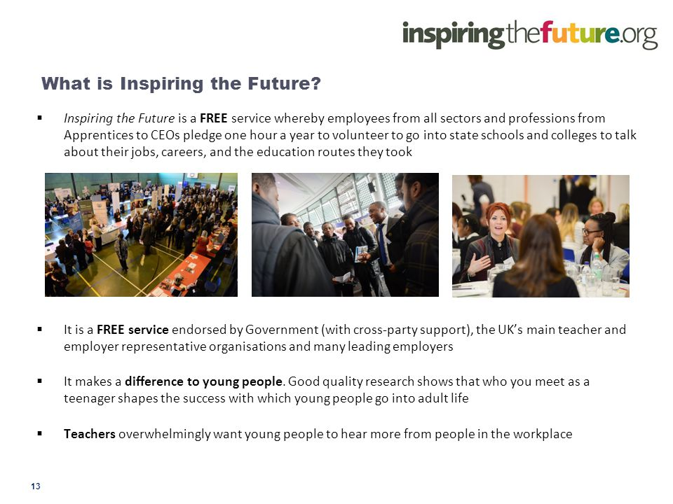 What is Inspiring the Future?  Inspiring the Future is a FREE service whereby employees from all sectors and professions from Apprentices to CEOs ple