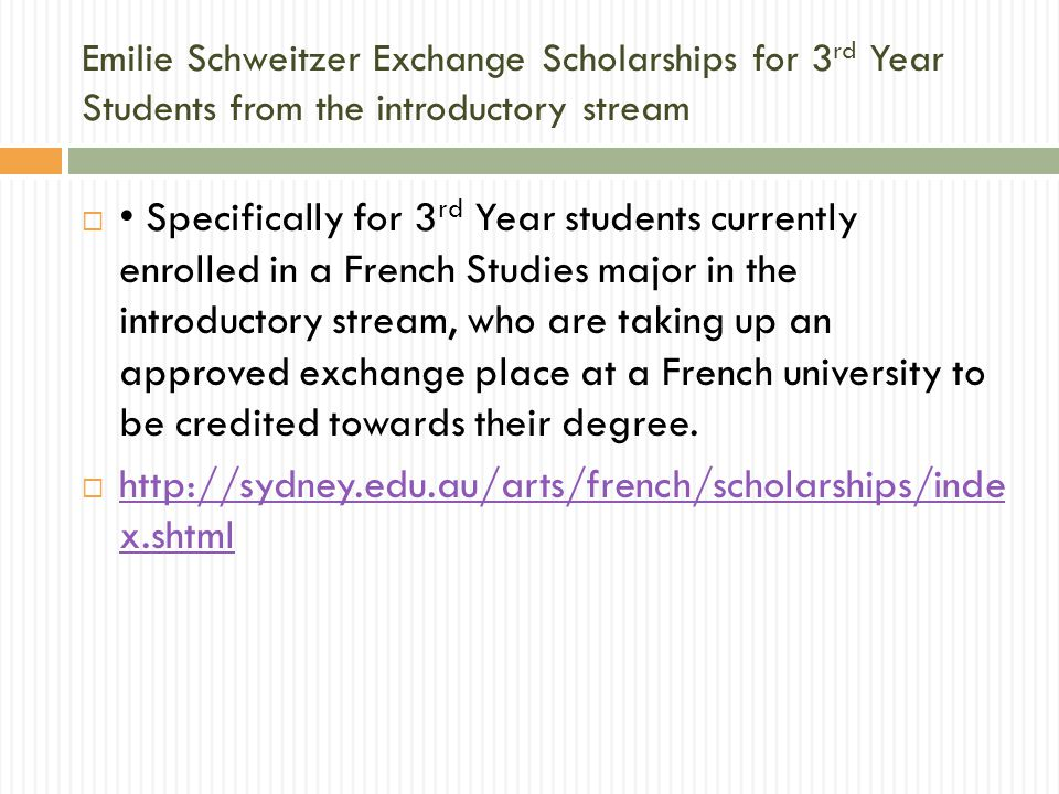 Requirements for scholarships  Students will need:  To demonstrate their intention to continue with French Honours (or joint Honours) and  An average mark of 70% in French (in both language and cultural units).
