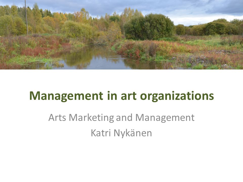 Management in art organizations Arts Marketing and Management Katri Nykänen