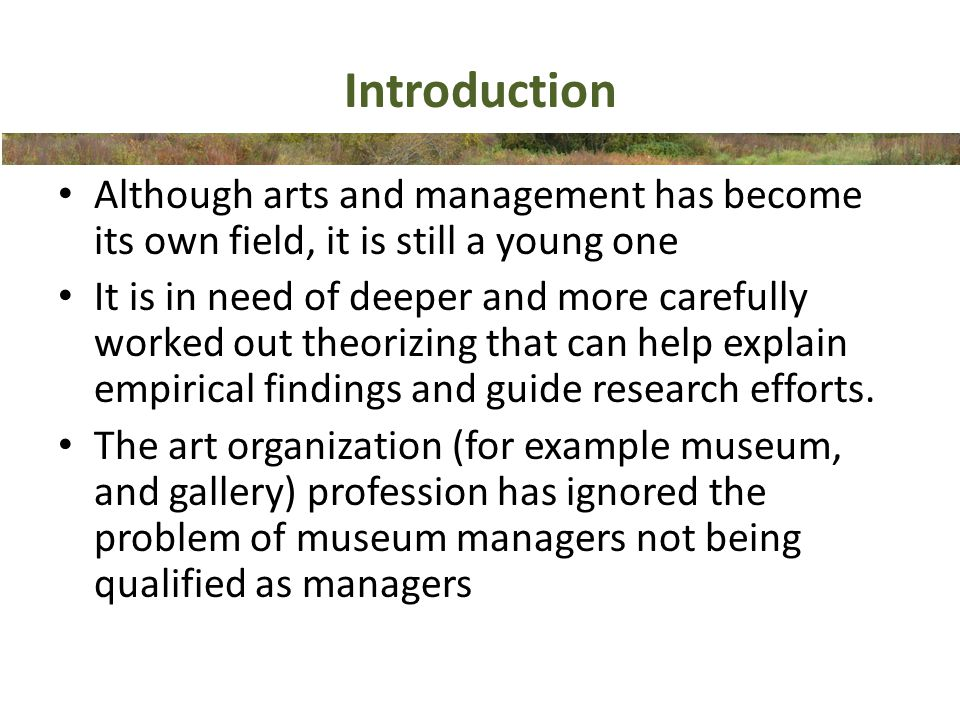 Art organization as a bureaucratic hierarchy 1/4 Bureaucracy model of Mintzberg (1983) Rely on the skills and knowledge of their professionalsin order to function – The operating core is the key part of the bureaucracy – The only other part elaborated is the support staff The structureis highlydecentralized Professionals seek selective controlof the administrative decisions, which affect them Parallel hierarchies: democratic bottom up for the professionals and machine bureaucratic top down for all others Decision making allows some professionals to ignore the needs of clients and encourages all to ignore the needs of the organization itself and are ill-equipped to respond to the need to develop new outputs Complex work cannot be performed unless it comes under the control of the person who does it The incentive to perfect and to innovate is reduced by external controls