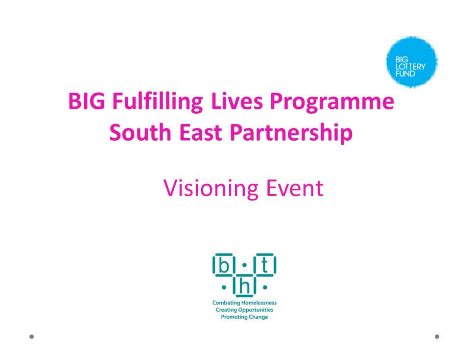 BIG Fulfilling Lives Programme South East Partnership Visioning Event
