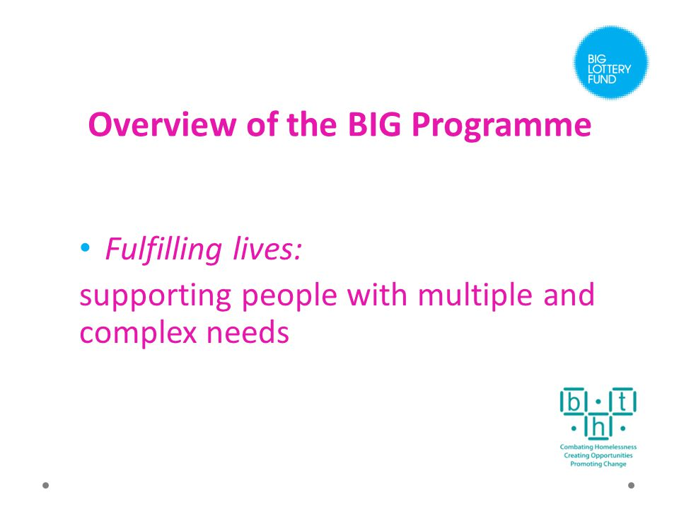 Overview of the BIG Programme Fulfilling lives: supporting people with multiple and complex needs