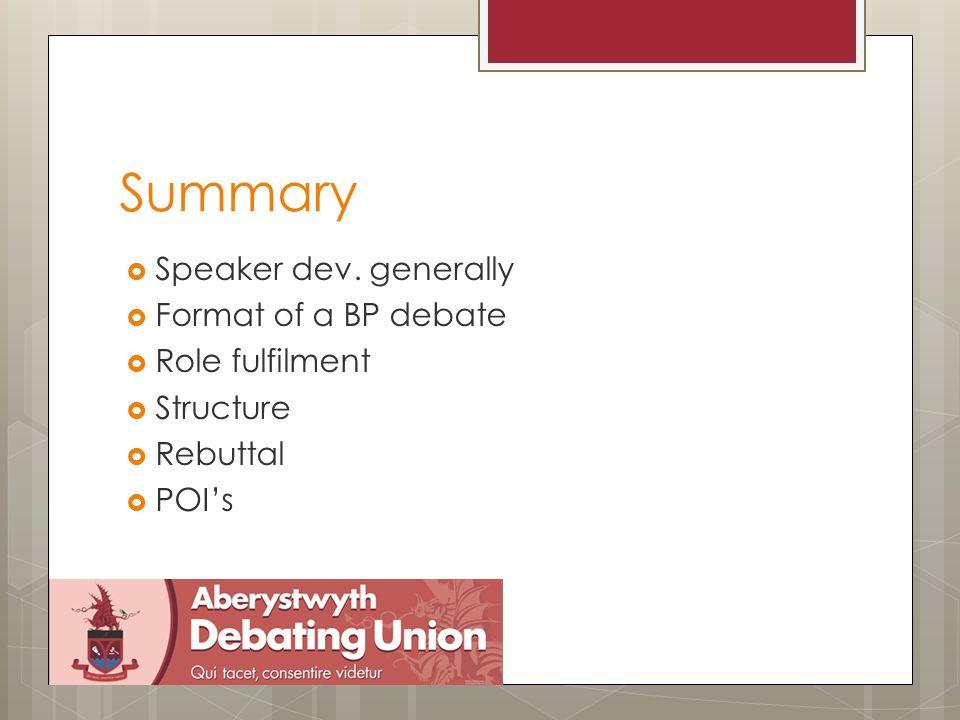 Summary  Speaker dev.
