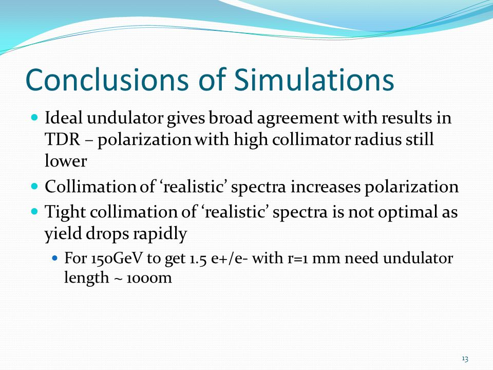 Conclusions of Simulations Ideal undulator gives broad agreement with results in TDR – polarization with high collimator radius still lower Collimatio