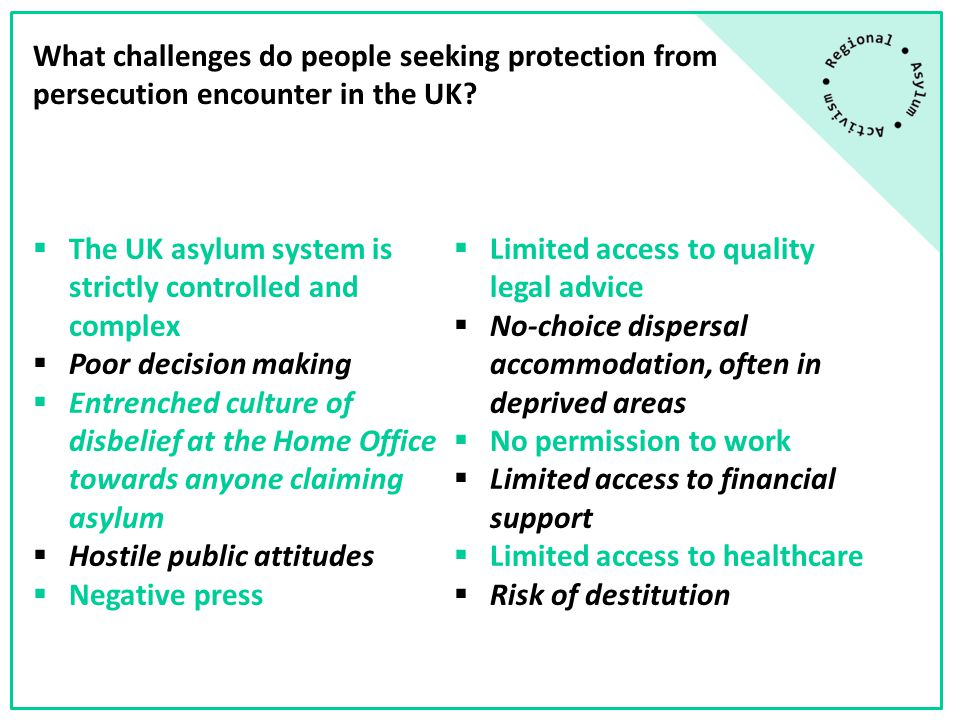 The National Policy Context Over the last 15 years, successive British governments have passed a range of legislation about asylum and immigration designed to reduce the number of people seeking refugee protection in the UK.