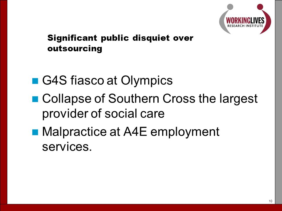 Significant public disquiet over outsourcing G4S fiasco at Olympics Collapse of Southern Cross the largest provider of social care Malpractice at A4E employment services.