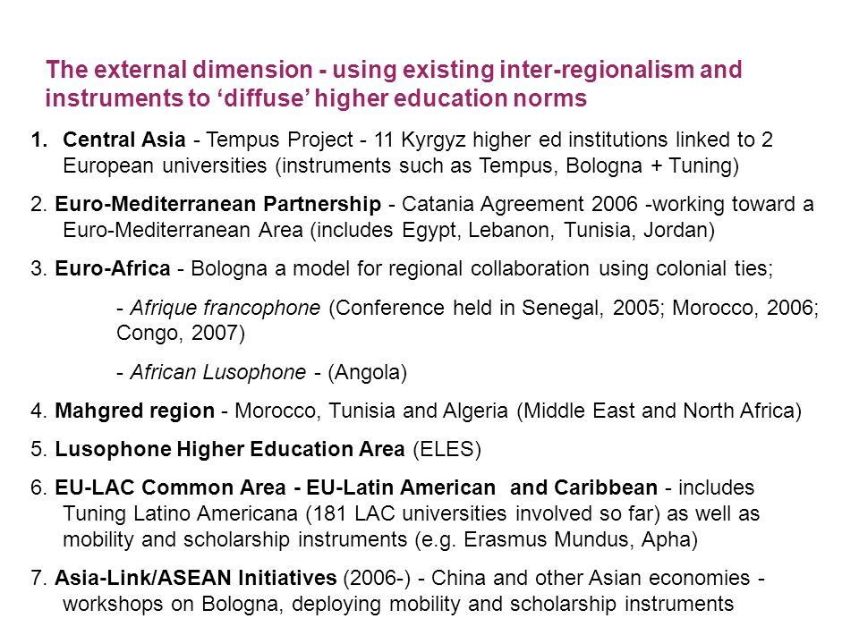 Lisbon European Research Area Bologna EHEA Mobility of academics, students and labour 'Quality' and Attractiveness of EHEA Mechanism of Cooperation, Learning Model for Norm Setting Minds for Knowledge Economy Markets for Service Economy globalising through 'regions' state building strategy EUROPE: A GLOBAL BRAND?