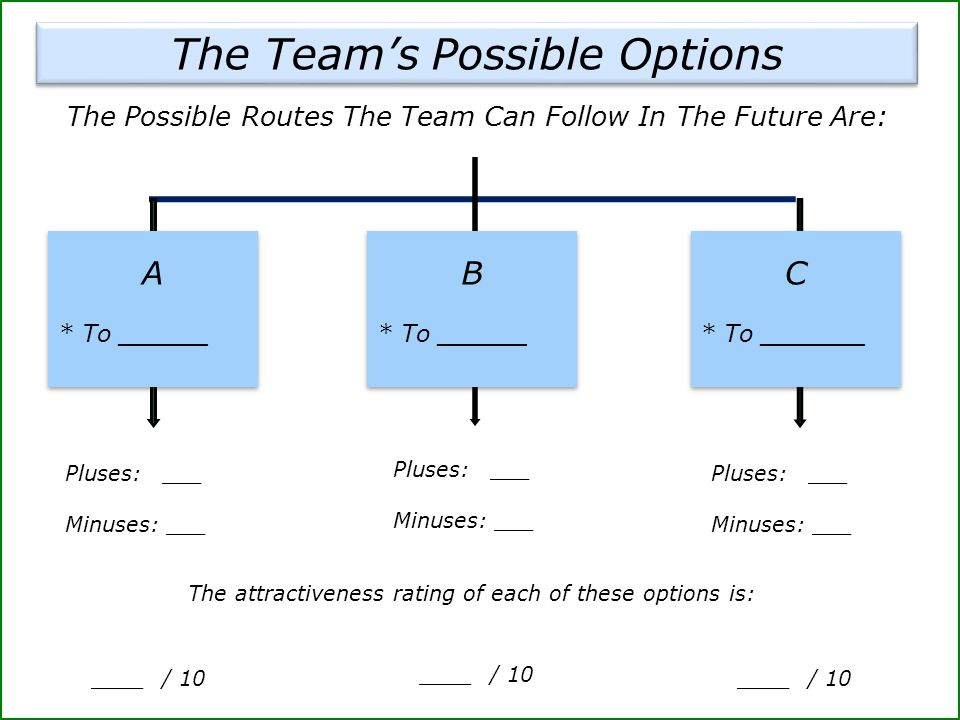 The Team's Possible Options Pluses: ___ Minuses: ___ ____ / 10 The attractiveness rating of each of these options is: The Possible Routes The Team Can