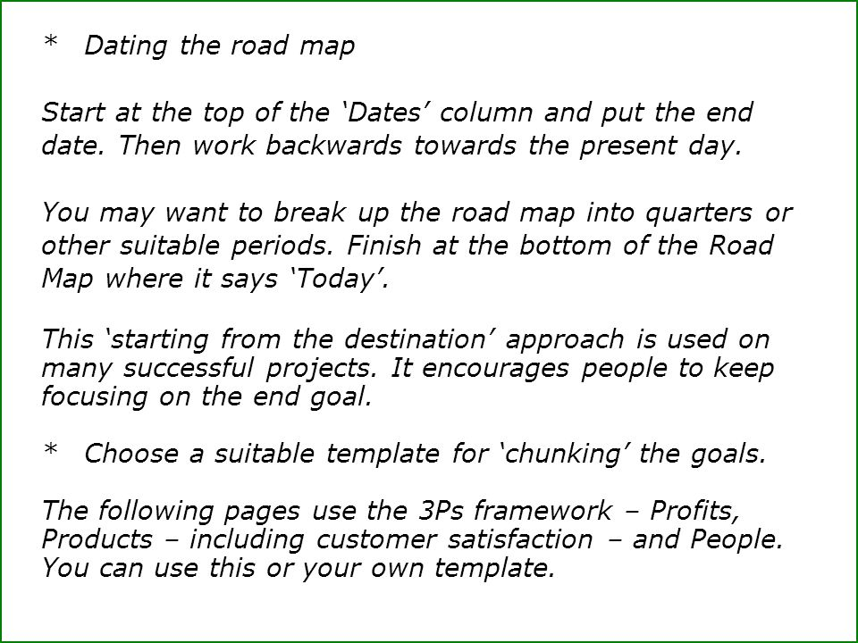 *Dating the road map Start at the top of the 'Dates' column and put the end date. Then work backwards towards the present day. You may want to break u