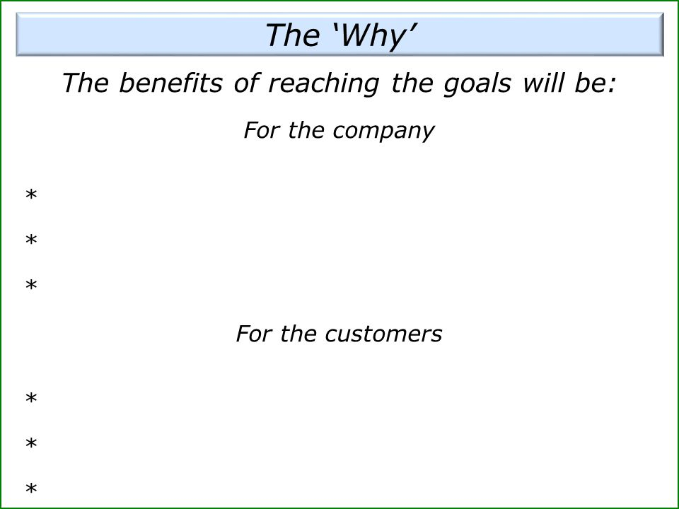 The benefits of reaching the goals will be: For the company * For the customers *