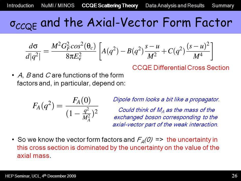 Introduction NuMI / MINOS CCQE Scattering Theory Data Analysis and Results Summary 26 σ CCQE and the Axial-Vector Form Factor A, B and C are functions of the form factors and, in particular, depend on: So we know the vector form factors and F A (0) => the uncertainty in this cross section is dominated by the uncertainty on the value of the axial mass.