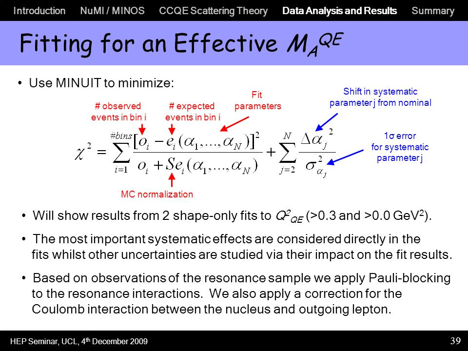 Introduction NuMI / MINOS CCQE Scattering Theory Data Analysis and Results Summary 39 Fitting for an Effective M A QE Use MINUIT to minimize: # observed events in bin i # expected events in bin i Fit parameters Shift in systematic parameter j from nominal 1σ error for systematic parameter j MC normalization Will show results from 2 shape-only fits to Q 2 QE (>0.3 and >0.0 GeV 2 ).