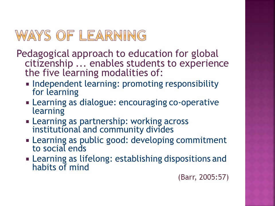 Pedagogical approach to education for global citizenship...