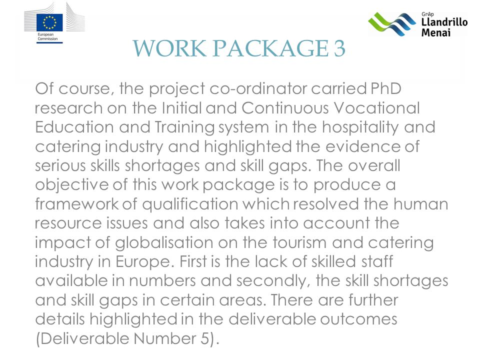 WORK PACKAGE 3 Of course, the project co-ordinator carried PhD research on the Initial and Continuous Vocational Education and Training system in the hospitality and catering industry and highlighted the evidence of serious skills shortages and skill gaps.