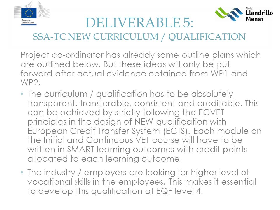 DELIVERABLE 5: SSA-TC NEW CURRICULUM / QUALIFICATION Project co-ordinator has already some outline plans which are outlined below.