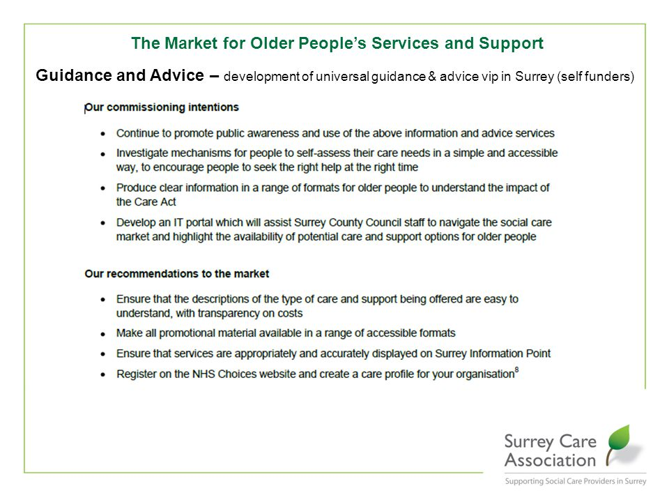 The Market for Older People's Services and Support Guidance and Advice – development of universal guidance & advice vip in Surrey (self funders)