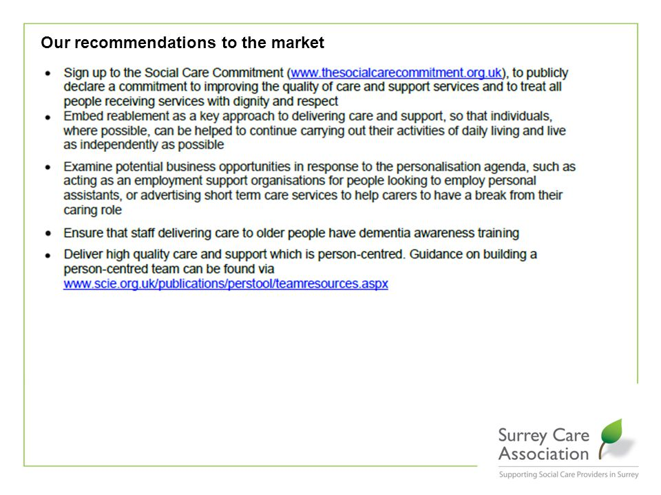 Our recommendations to the market