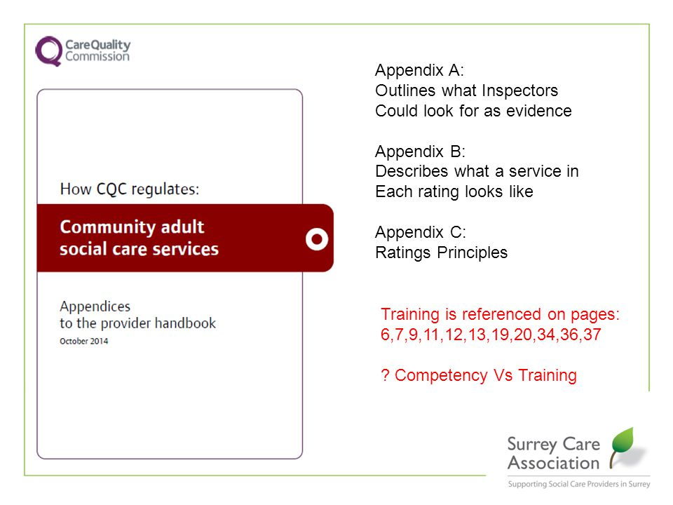 Appendix A: Outlines what Inspectors Could look for as evidence Appendix B: Describes what a service in Each rating looks like Appendix C: Ratings Principles Training is referenced on pages: 6,7,9,11,12,13,19,20,34,36,37 .