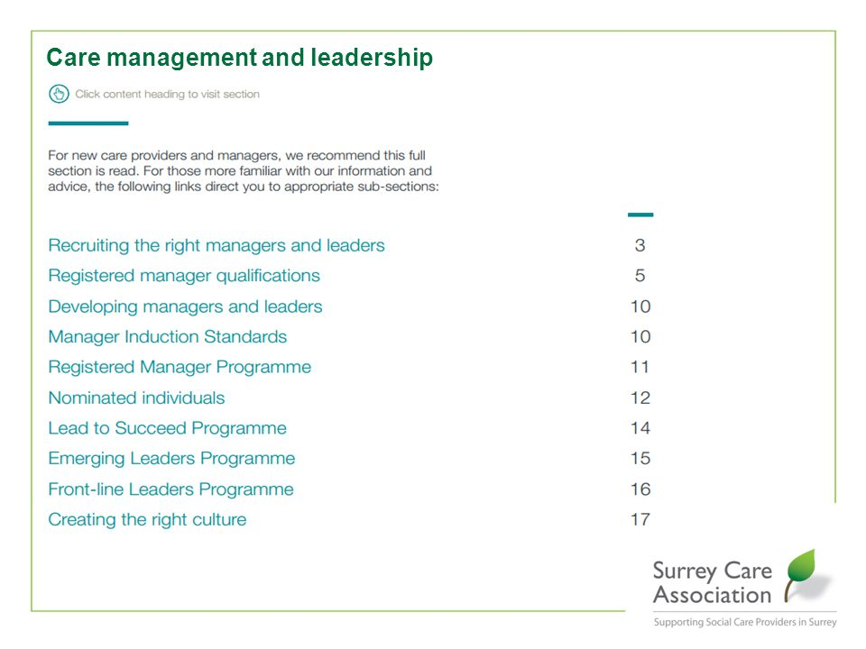 Care management and leadership