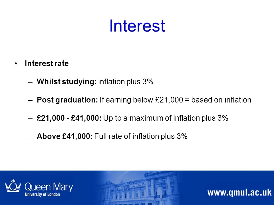 Interest Interest rate –Whilst studying: inflation plus 3% –Post graduation: If earning below £21,000 = based on inflation –£21,000 - £41,000: Up to a