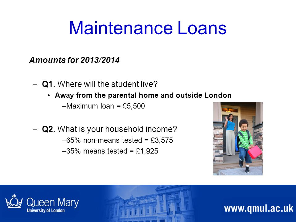 Maintenance Loans Amounts for 2013/2014 –Q1. Where will the student live? Away from the parental home and outside London –Maximum loan = £5,500 –Q2. W