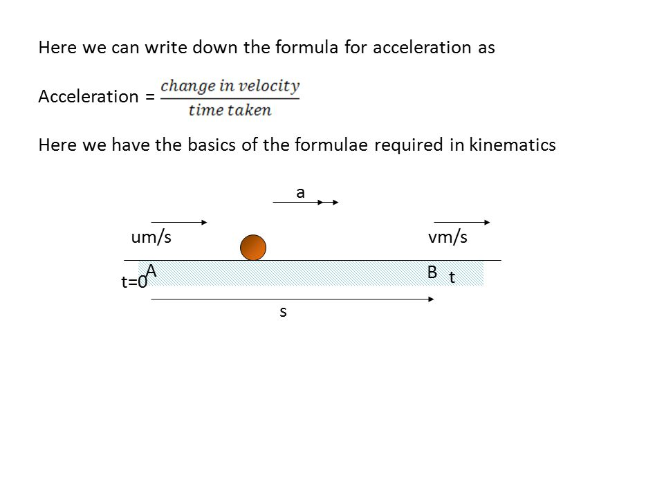 Here we can write down the formula for acceleration as Acceleration = Here we have the basics of the formulae required in kinematics um/svm/s A B s t