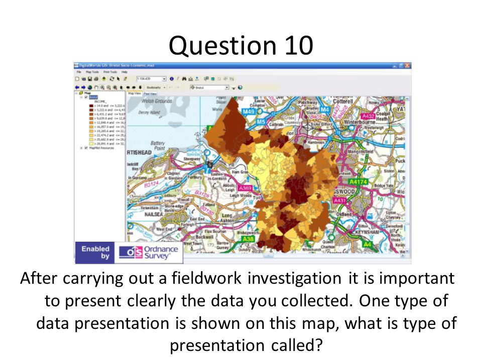 Question 10 After carrying out a fieldwork investigation it is important to present clearly the data you collected.
