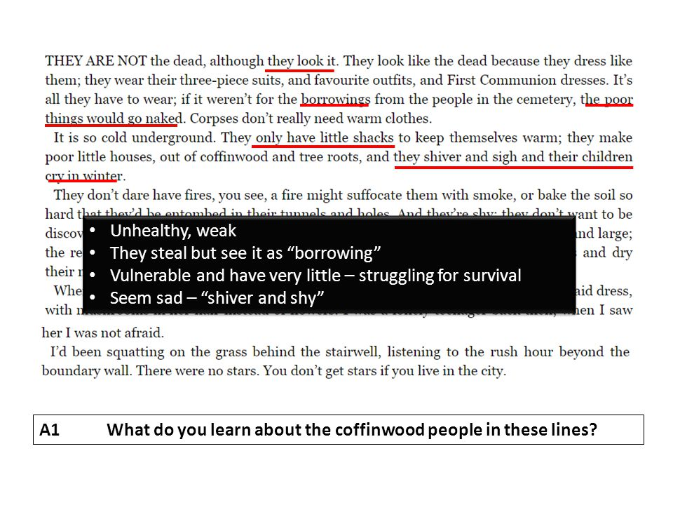 A1What do you learn about the coffinwood people in these lines.