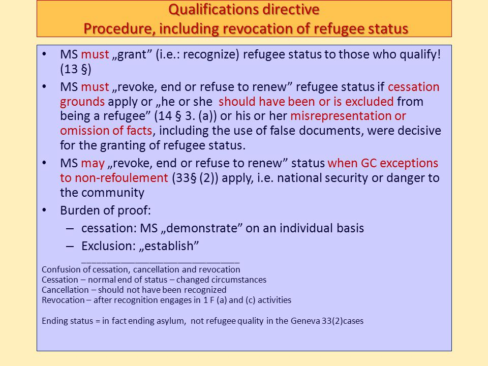 """Qualifications directive Procedure, including revocation of refugee status MS must """"grant"""" (i.e.: recognize) refugee status to those who qualify! (13"""