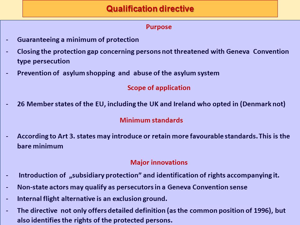 """Directive on minimum standards on procedures Specific procedures-Unfounded – Inadmissible applications SpecificUnfoundedInadmissible Subsequent applicationsafe country of origin Dublin II applies Border proceduresRefugee status in another MS Supersafe third country cases """"European safe third countries 36 § - CJEU abolished in 2008 Non MS = first country of asylum (already recognized there as refugee) """"Normal safe third country applies Other title to stay, with at least refugees' rights pending the determination of that other title identical repeat application Dependent repeating parents rejected application"""