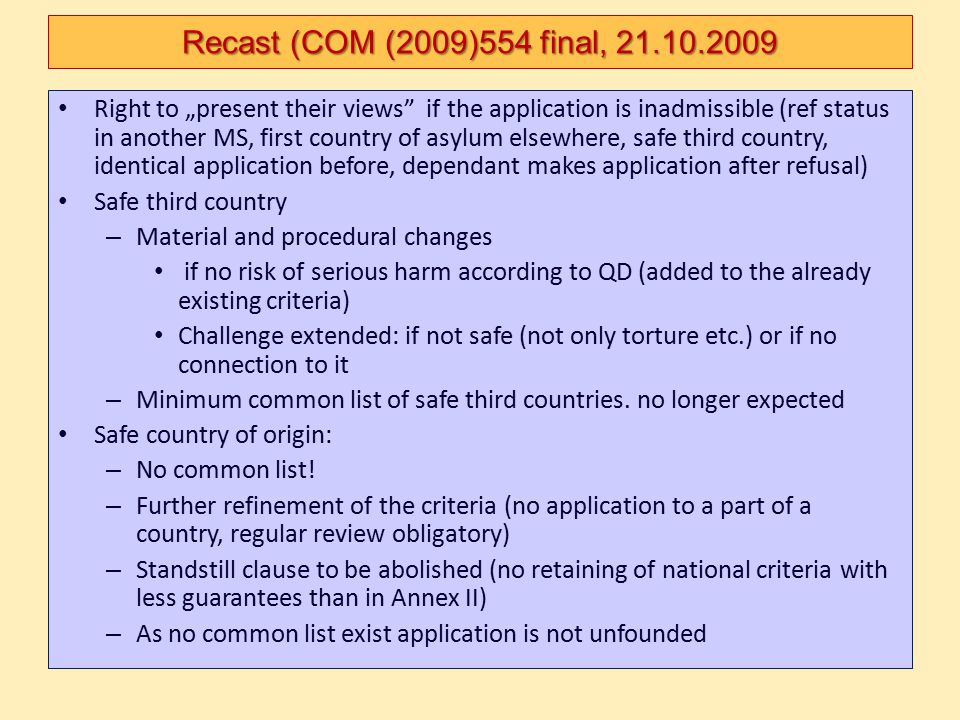 """Right to """"present their views"""" if the application is inadmissible (ref status in another MS, first country of asylum elsewhere, safe third country, id"""