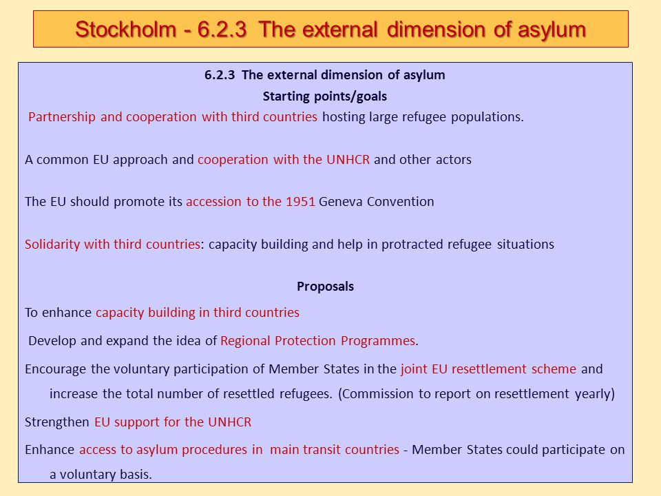 6.2.3 The external dimension of asylum Starting points/goals Partnership and cooperation with third countries hosting large refugee populations. A com