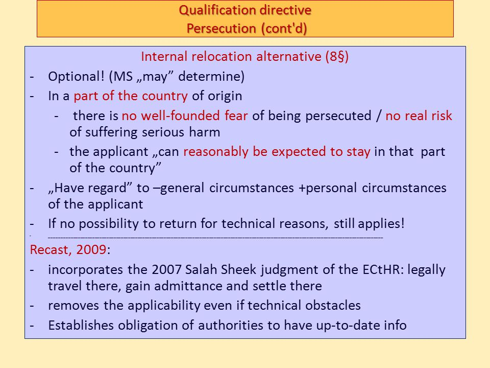 Subsequent (repeat applications): – more lenient towards those with new facts or evidence (no time limit to submit them) harsher with multiple applications (no right to stay) Border procedures: only if accelerated (basically: abuse) Appeal – must extend to facts and law (to be effective) – have automatic suspensive effect (except in accelerated or identitcal if MS opt so) Recast (COM (2009)554 final, 21.10.2009