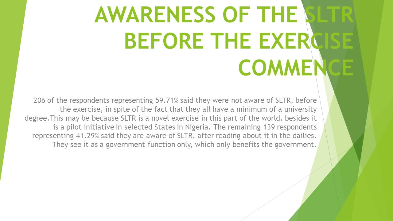 AWARENESS OF THE SLTR BEFORE THE EXERCISE COMMENCE 206 of the respondents representing 59.71% said they were not aware of SLTR, before the exercise, i