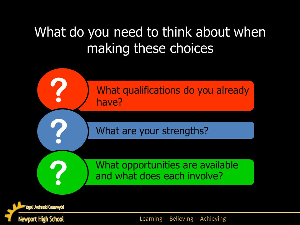 Learning – Believing – Achieving What are employers looking for.