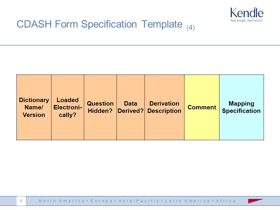 N o r t h A m e r i c a E u r o p e A s i a / P a c i f i c L a t i n A m e r i c a A f r i c a 7 CDASH Form Specification Template (3) CDISC SDTM Cod