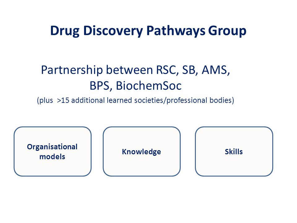 Drug Discovery Pathways Group Partnership between RSC, SB, AMS, BPS, BiochemSoc (plus >15 additional learned societies/professional bodies) SkillsKnowledge Organisational models