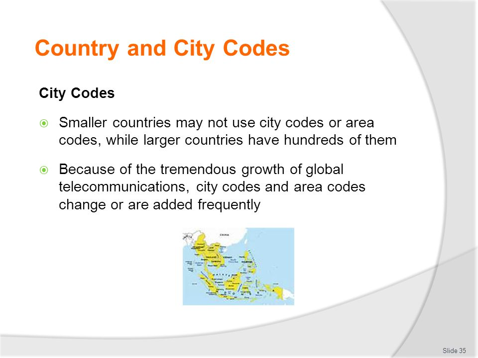 Country and City Codes City Codes  Smaller countries may not use city codes or area codes, while larger countries have hundreds of them  Because of the tremendous growth of global telecommunications, city codes and area codes change or are added frequently Slide 35