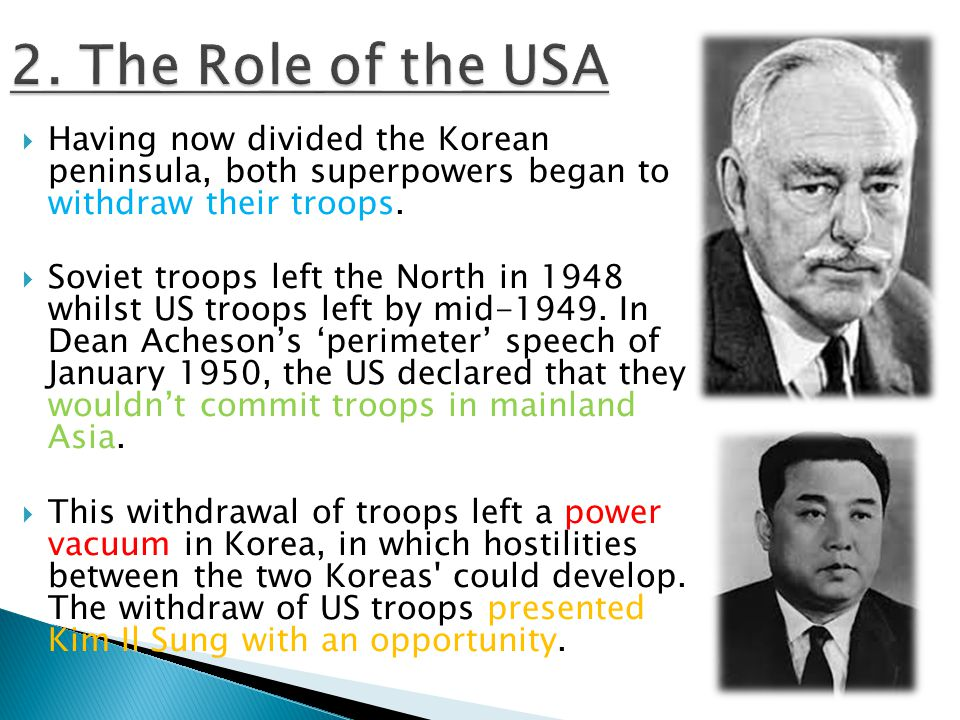  Having now divided the Korean peninsula, both superpowers began to withdraw their troops.